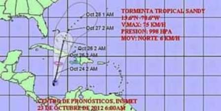 Defensa Civil cubana toma medidas por tormenta tropical Sandy