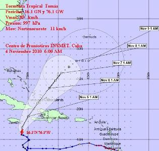 Provincias orientales cubanas en alerta ciclónica por tormenta Tomas