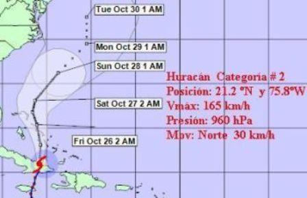 Huracán Sandy se dirige hacia las Bahamas